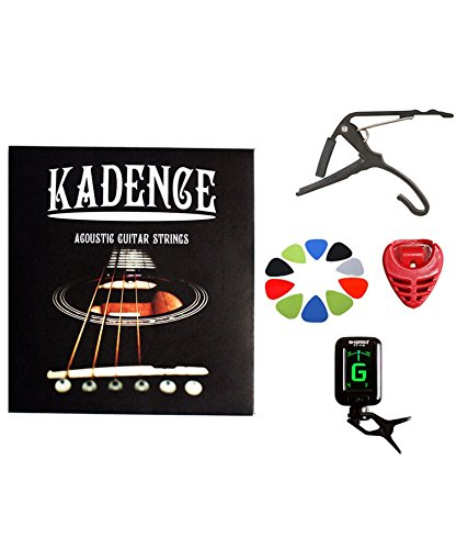 Kadence Combo of Guitar Strings(compatible with upto 39 inch Guitar), 10 picks, 1 Pick Holder, 1 Capo & 1 Tuner
