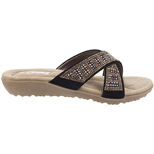 Divaz Womens/Ladies Madonna Textile Diamante Crossover Mule Sandals Black