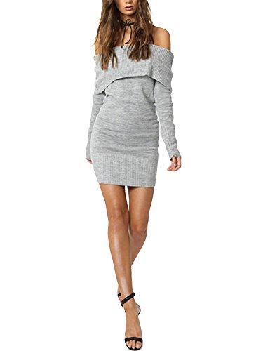 Damen Lang Strick Sweater Pullover Langarm sexy Schulterfrei One Size Strickkleid Herbst Winter Minikleid Ufly, Grau, One Size (Stiefel Kleider, Pullover,)