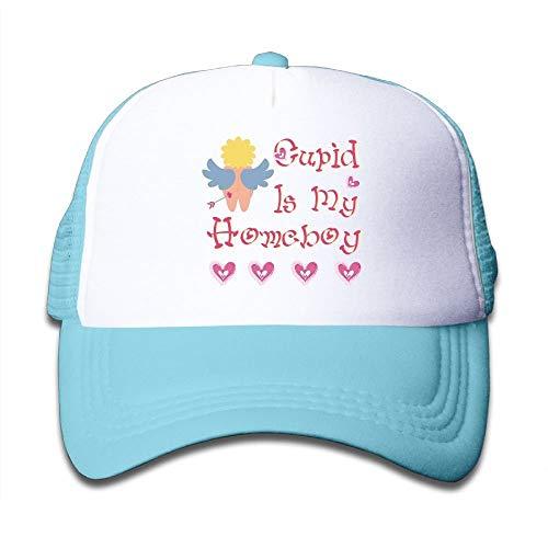 LLALUA Kids Cupid is My Homeboy Funny Girls Mesh Hat Adjustable Baseball Trucker Caps - Homeboy Cap