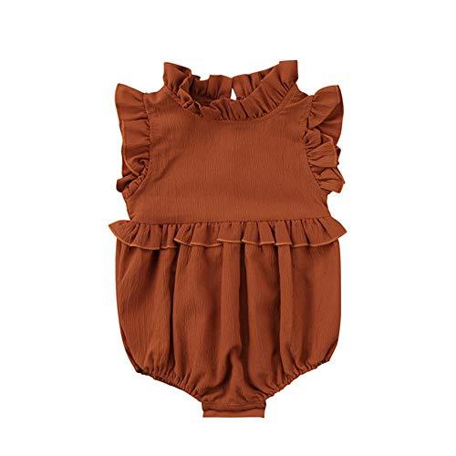 Wang-RX Sommer Solide Rüschen Ärmellose Strampler Neugeborenen Mädchen Kind Baby Kleidung Vintage Prinzessin Overall Infant Outfits