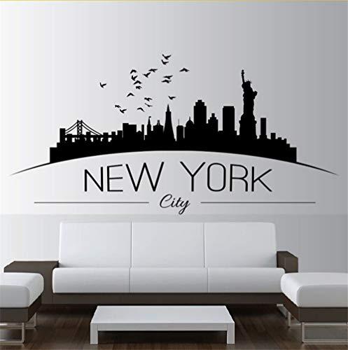 roße Nyc New York City Skyline Wandtattoos Stadt Skyline Silhouette Wandaufkleber Home Schlafzimmer Dekoration 86 * 42 Cm ()