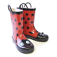 SlumberzzZ 3D Kids Ladybird Wellie (2 UK, Red/Black)