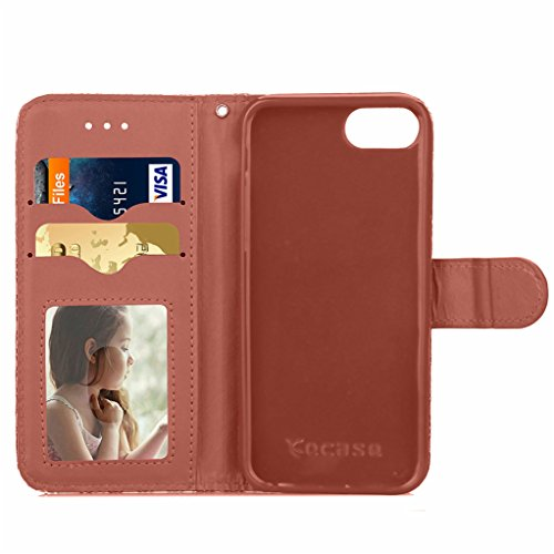 """Trumpshop Smartphone Case Coque Housse Etui de Protection pour Apple iPhone 7 Plus 5.5"""" (Série Fleurs) + Blanc + Ultra Mince Smarphonetcoque Portefeuille PU Cuir Avec Fonction Support Anti-Choc Anti-R Marron"""