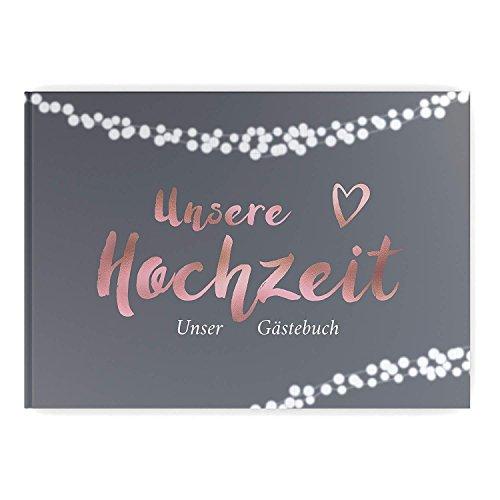Gästebuch Hochzeit mit Fragen Hochzeitsgästebuch Twinkle Rose edel Hardcover Grau Rosegold