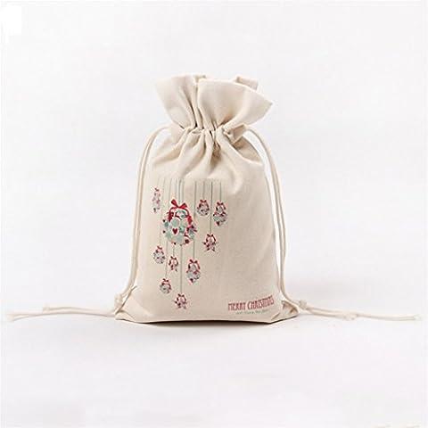 yipinco7285Weihnachten Leinwand Kordelzug Geschenkbeutel Candy Aufbewahrungstasche Cinch Tasche, canvas, 9#, Einheitsgröße