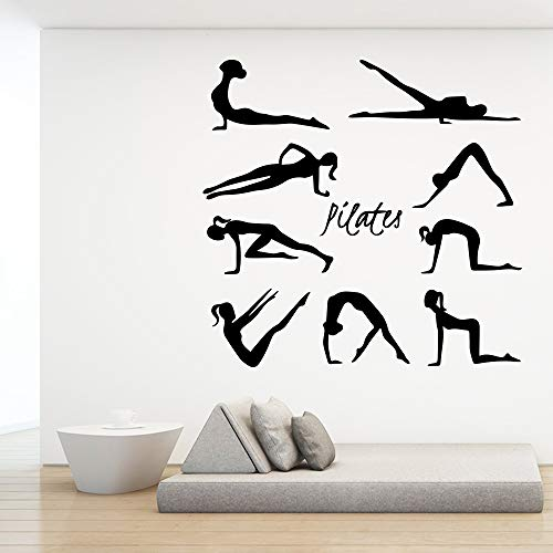 42x43cm, Wandkunst, Junge Schlafzimmer Wandaufkleber, Pilates Yoga Studio Bett Haus Fenster Aufkleber Bild Applique Tapete Schlafzimmer Aufkleber Hängeraum Dekorativ