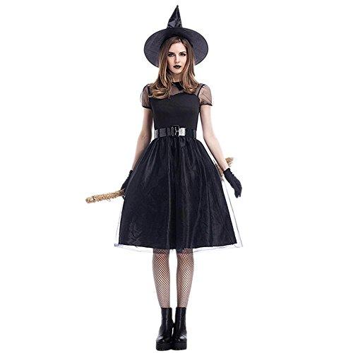 ay Kostüm, Halloween Christmas Party Schwarz Mesh Große Größe Hexe Kostüm, Temperament Hexe Nacht Ghost Spiel Kostüm (Kleid + Hut + Gürtel + Handschuhe) ()