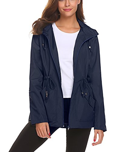 Lomon Chaqueta impermeable para mujer, abrigo plegable casual para lluvia, Chaqueta transpirable ligera confortable para chicas, abrigo de viaje para caminar.