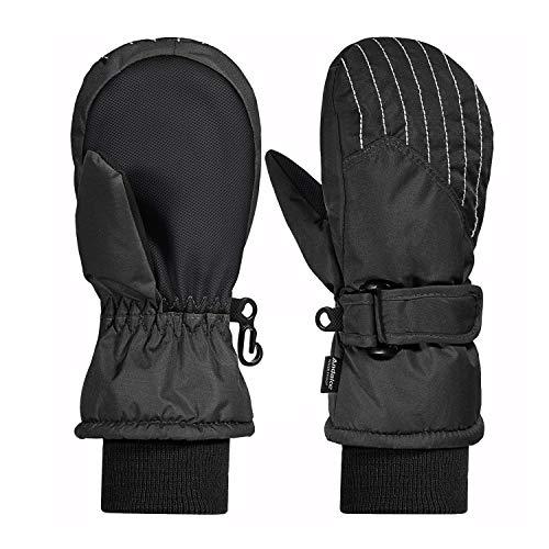 Andake 3M Thinsulate Futter, warm Wasserdichte atmungsaktive Membran, Fäustlinge Thermo Handschuhe Winterhandschuhe Kinderhandschuhe Skihandschuhe Baby Kinder Jungen Mädchen, Schwarz, 5-7Y