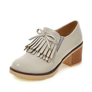 Rtry Femme Talons Conduite Chaussures Confort Nouveauté Chute En Similicuir En Plein Air Mariage Inflorescence Occasionnel Staminifera (s) Chunky Talon Gris Noir Blanc 2a-2 3 / 4in Us4-4.5 / Eu34 / Uk2-2.5 / Cn33