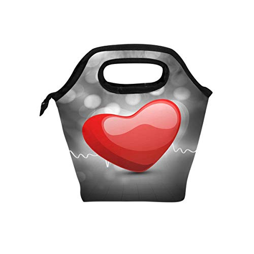 LIANCHENYI Red Heart Beat Cooler Warm Pouch Lunchbox für Schule Arbeit Tragbare Mahlzeit Handtaschen Lebensmittelbehälter Tragetasche für Picknick (Beat Tragetasche)