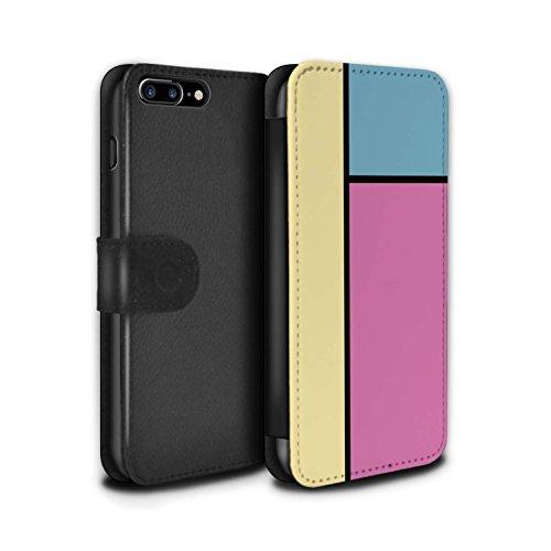 Stuff4 Coque/Etui/Housse Cuir PU Case/Cover pour Apple iPhone 7 Plus / 3 Carreaux/Bleu Design / Carreaux Pastel Collection 3 Carreaux/Rose