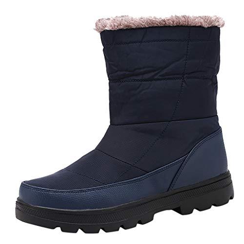 Stivaletti Uomo Eleganti Stivali Caldi in Cotone da Neve Impermeabili Caldi all'aperto con Tubo Alto in Velluto Fashion Plus (45 EU,Uomo-Blu)