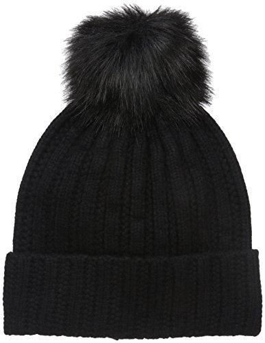 badgley-mischka-womens-cashmere-blend-ladder-stitch-beanie-with-faux-fox-pom-black-black-one-size