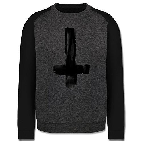 Symbole - Umgedrehtes Kreuz Vintage - Herren Baseball Pullover Dunkelgrau Meliert/Schwarz