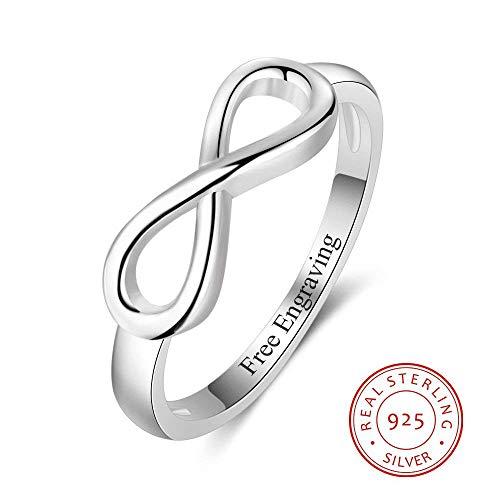 ZHOUYF RING Verlobungsringe Personalisierte 925 Sterling Silber Eternity Ring Frauen Gravur Unendlichkeit Ringe Hochzeit Versprechen Ringe Für Sie, 10# (Versprechen Ringe Für Sie Unter 100)