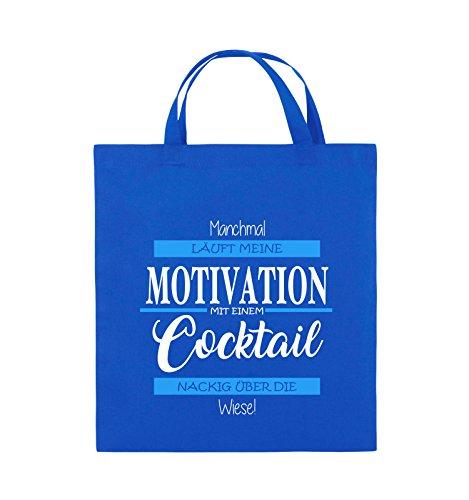 Comedy Bags - Manchmal läuft meine Motivation mit einem Cocktail nackig über die Wiese - Jutebeutel - kurze Henkel - 38x42cm - Farbe: Schwarz / Weiss-Neongrün Royalblau / Weiss-Hellblau