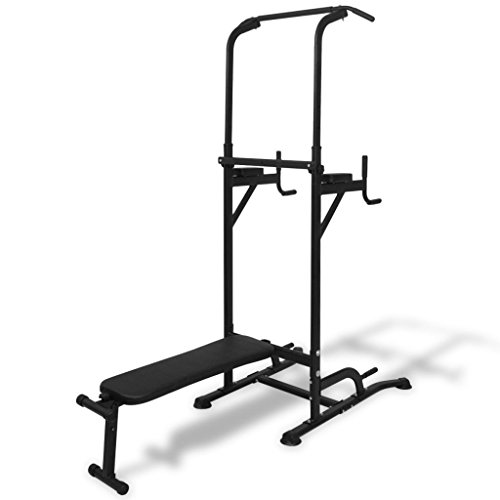 vidaXL Power Tower Sit Up Bank Fitnessgerät Kraftstation Heimtrainer Klimmzug