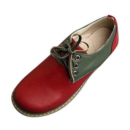 MakefortuneDamen Leder Oxfords Bequeme Büro Low Heel Schnürschuhe Round Toe Damen Vintage Schuh Derby Lace Round Toe Pumps