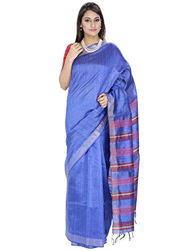 Romi's Pure Tussar Silk Handloom Saree (Blue with Multicolor striped pallu)