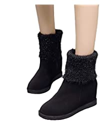 Stiefel Damen Martain Boots ABsoar Warmhalte Schuhe Frauen Keile Schuhe  Schneestiefel Wildleder Slip-On Stiefel Runde Kappe… 094174f2ad