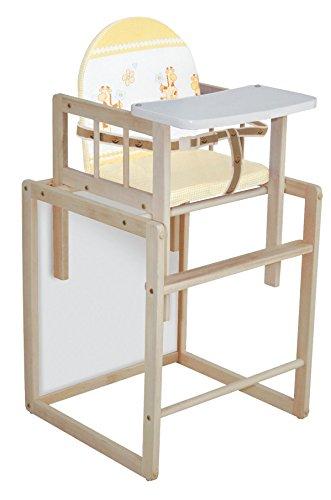 roba Kombi-Hochstuhl, Hochstuhl mit Essbrett wandelbar zu Tisch & Stuhl, Kinderhochstuhl Holz natur, Sitz gepolstert