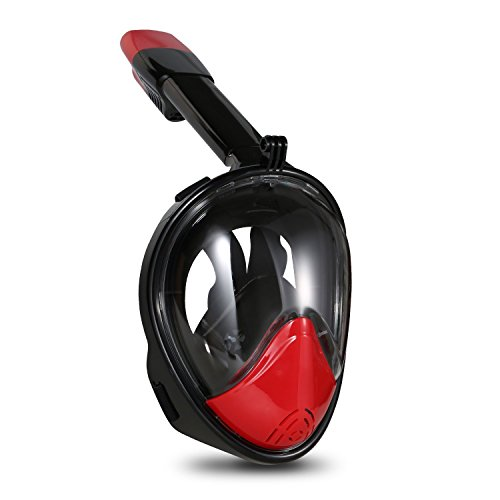 Tauchmaske, HiCool Atmung Schnorchelmaske Tauchermaske Schnorchel Tauchmaske Vollmaske für Aktionssportkamera Kompatibel mit 180 Grad Betrachtungsfläche mit Anti Fog / Anti Leak Technologie mit Belüftungsschlauch Vollmaske für Schwimmen und Tauchen