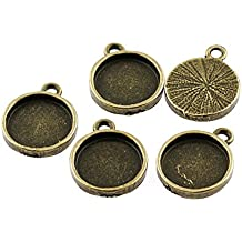 4 edle Fassungen in antik Bronze für 25 mm Cabochons