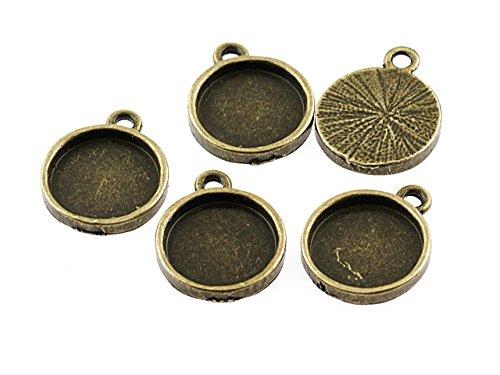 6 stabile Fassungen für 12 mm Cabochons in antik bronze von Vintageparts, DIY-Schmuck