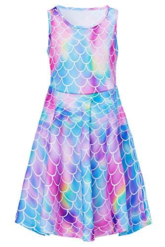 Adicreat Mädchen Meerjungfrau Ärmelloses Sommerkleid Niedlich A-Linie Kleid 10-12 Jahre