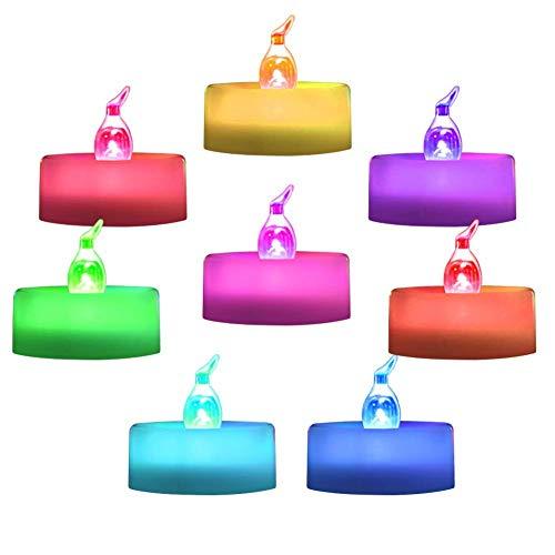 24 Pack Batterie Farbwechsel Tee Lichter, flammenlose Bunte Rainbow LED Teelichter, Pack 7 Farben blinken Zyklus Kerzen Licht für Feier, Party, Geschenk, Valentinstag