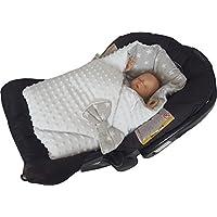 BlueberryShop Minky Reversible for CAR SEAT Swaddle Wrap Blanket Sleeping Bag for Newborn, baby shower GIFT (0-3m) (78 x 78 cm) Multi