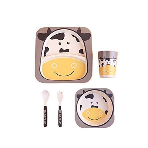 Vhpperfg Kinder Geschirr Set, 5-Piece Baby-Besteck Kids Dinner Set, Bambus-Kleinkindbesteck und -schüssel und Kindertasse - Recycling Natur Material-Squirrel (Color : Small Cow, Size : -)
