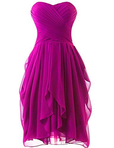 HUINI Abendkleider Schulterfrei Kurz A-Linie Chiffon Brautjungfernkleider Ballkleider Hochzeitskleider Partykleider Abschlussball Kleider Rose 36