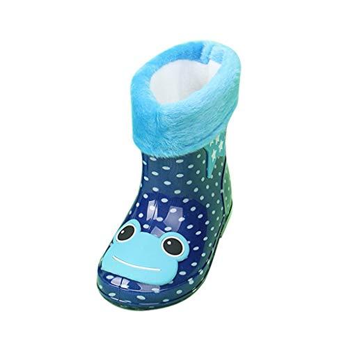 Alwayswin Baby Kinder Winter Gummistiefel Warme Plus Samt Regenstiefel Bequeme rutschfeste Rain Boot Outdoor wasserdichte Stiefel Lederstiefel Slip-On Kurze Stiefel für Mädchen Jungen -