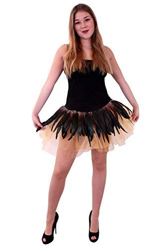 Eule Federn Kostüm - shoperama Pettcoat mit Federn Eule Gold Braun Kostüm-Zubehör Tüllrock Accessoire Rock Tutu Kostümzubehör Verkleidung Vogel