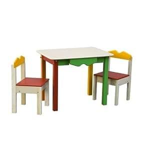 Tavolo con due sedie cassetto contenitore fatto inlegno - Tavolo contenitore bambini ...