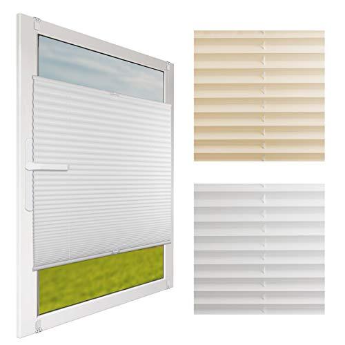 nxtbuy Klemmfix Plissee für Fenster - blickdichtes Faltrollo - Montage ohne Bohren durch Klemmhalterung - Faltstore Seitenzugrollo für Sichtschutz & Sonnenschutz, Farbe:Weiß, Größe:85 x 130 cm -