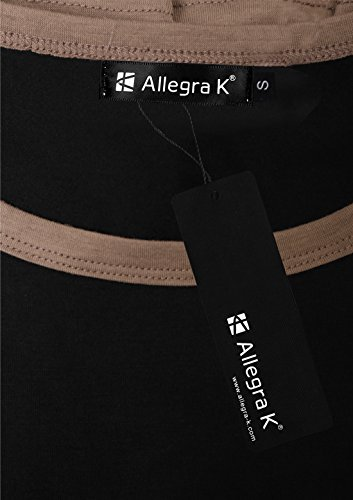 Allegra K Femme Bloc De Couleur Manches En Eventail Tunique Haut Light Coffee