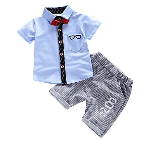 Allence Neugeborene Jungen Outfits für Jungen Kurzarm Tops Kurzärmliges Oberteil mit Fliege und Hosen für Jungen 0-4Jahre -