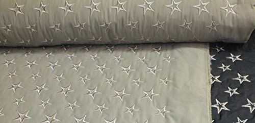 Javi Stepper Meterware Steppstoff beige Sand mit Stickerei Sterne 1 Meter