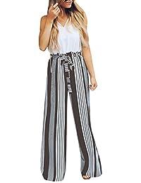 Minetom Mujeres Casual Pantalones Moda Verano Otoño Oficina De La Raya  Harem Playa Pantalones De Pierna 2361d438d9ad