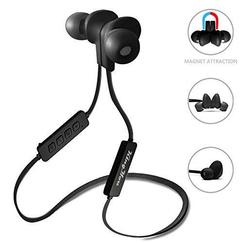Kingyou Bluetooth Kopfhörer 4.1 Sport Kopfhörer In Ear Ohrhörer Stereo mit Mikrofon magnetische Headset für Handys Apple iPhone Samsung Galaxy Laptops Tablets und Android Smartphones (Schwarz)