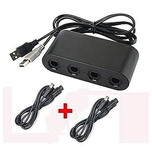 WiCareYo 4 Port Controller PC USB Adapter mit 2 Verlängerungskabel für Gamecube zu Wii U System