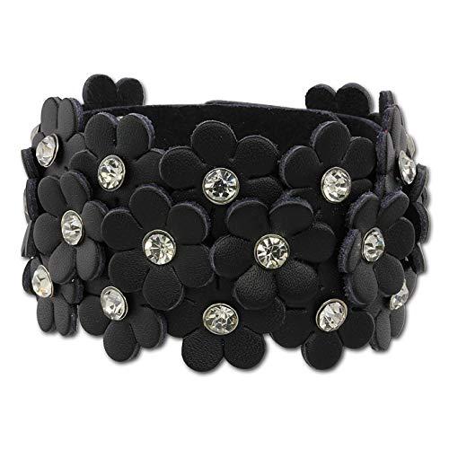 SilberDream Lederarmband schwarz Glitzer Blumen Zirkonia weiß Damen Armband Echtleder LA5668S