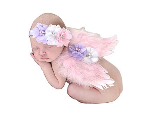 Hustar Neugeborene Baby Engel Flügel Fotoshooting Kostüm Fotografie Prop Outfits Bekleidung Haarband Set Rosa (Engel Kostüm Set)