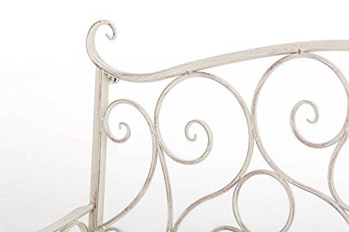 CLP Metall Gartenbank TUAN, 2-er Sitz-Bank Garten, Eisen lackiert, Design nostalgisch antik, 105 x 50 cm Antik Creme - 4