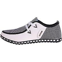 LIEBE721 Hombre Corte bajo Casual Mocasines Plano Cuero Lona Lace Up Zapatos de Conducción