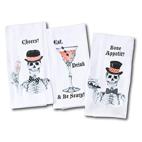 Kay Dee Designs Fancy Skelett Party Funny Halloween Mehlsack Handtücher - Toast, Cocktail, Hors D'oeuvres - Set von 3 Designs